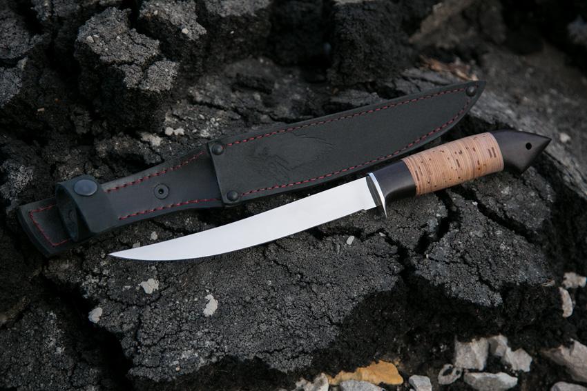 Филейный нож из стали 110Х18 (рукоять – черный граб, береста) A707
