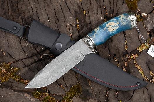 Нож Барс из дамасской стали (рукоять стабилизированная карельская береза, литье мельхиор)