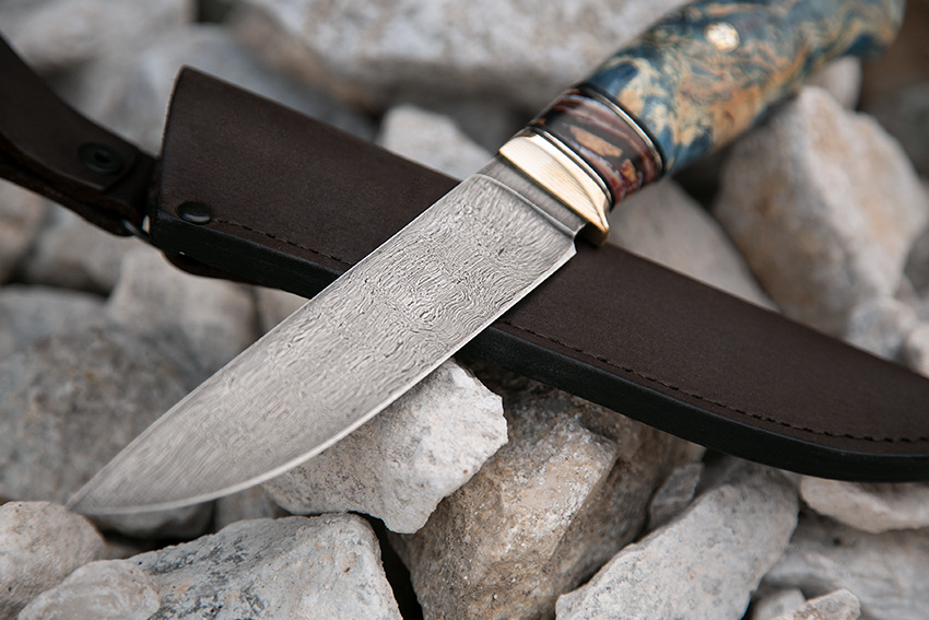 Нож Белка из булатной стали Аносова (рукоять – зуб мамонта, стаб.карельская береза, пин) A711