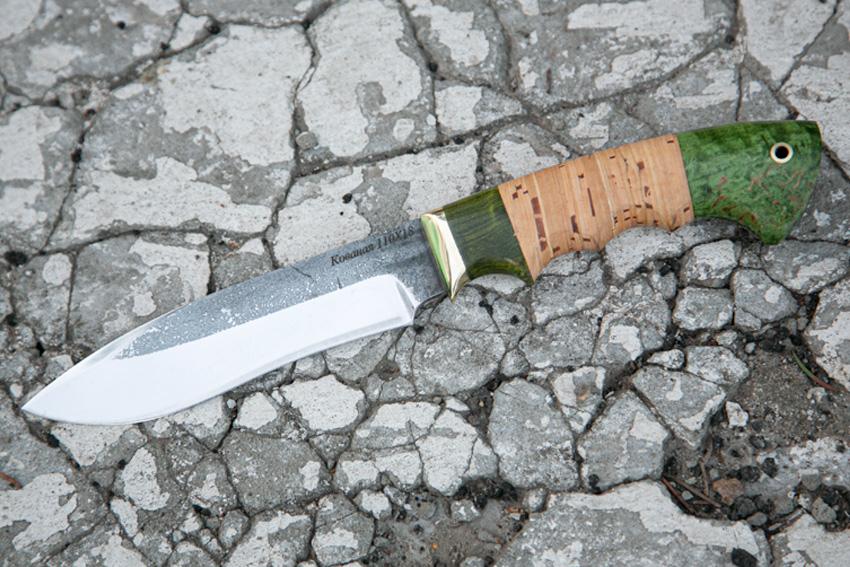 Нож Орлан из кованой стали 110Х18 (рукоять – стабилизированная карельская береза, береста, литье – мельхиор) A724