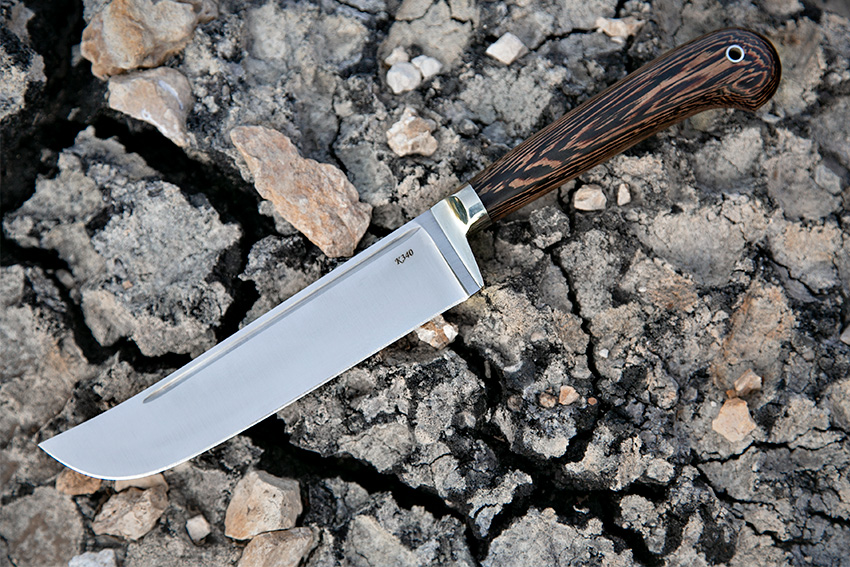 Нож Узбек – пчак из стали К-340 (рукоять -венге, литье – мельхиор) A719