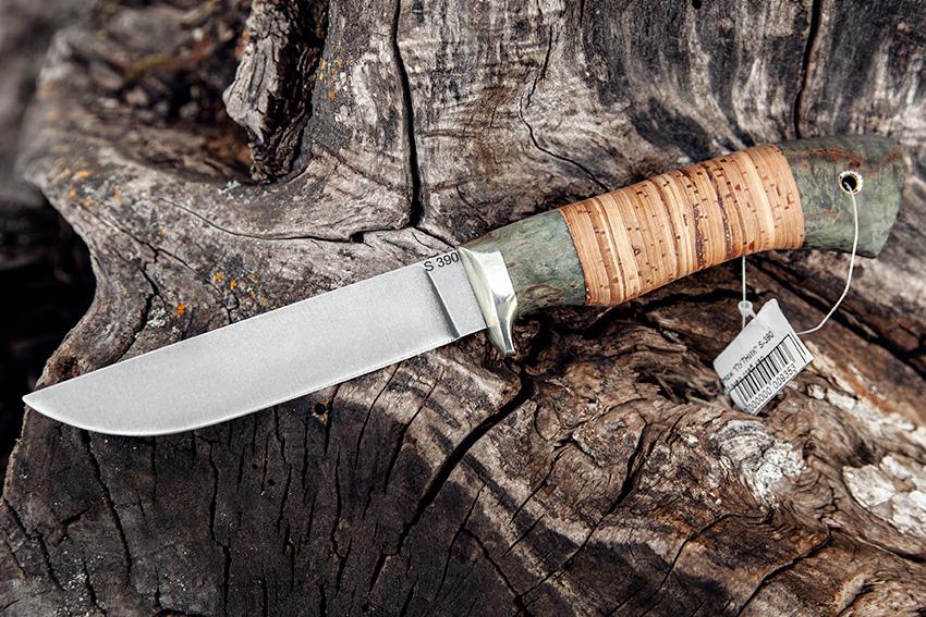 Нож Белка из стали S-390 (рукоять – стабилизированная карельская береза, береста) A717