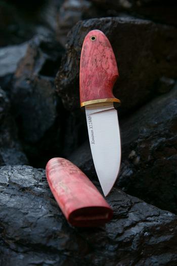 Нож Шкет из стали Х12МФ (рукоять и ножны стабилизированная карельская береза)