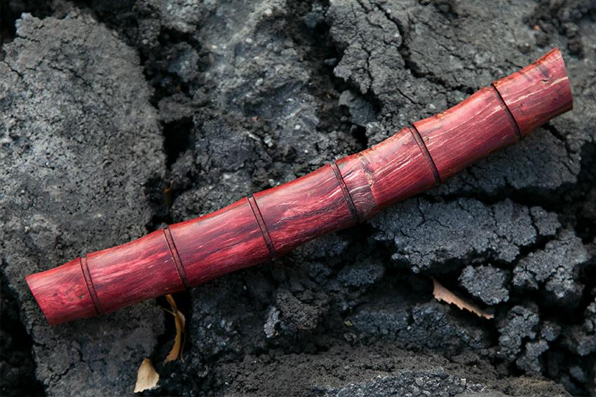 Нож Танто из кованой стали 110Х18 (рукоять и ножны – стабилизированная карельская береза) A720