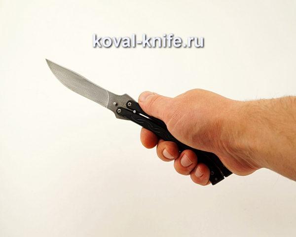 Нож Бабочка из дамасской стали