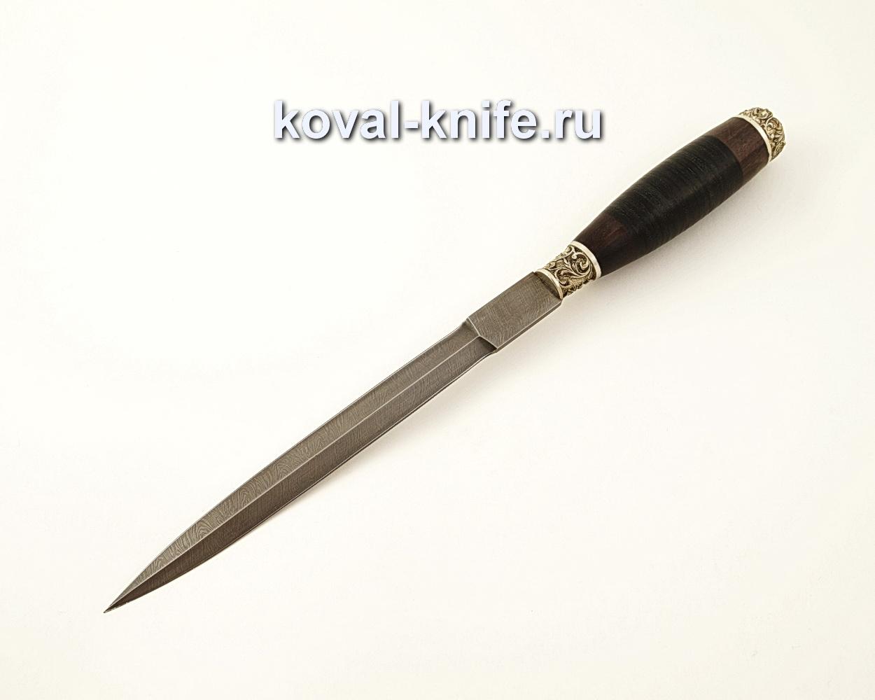 Нож Стилет из дамасской стали (рукоять кожа, литье мельхиор) A588
