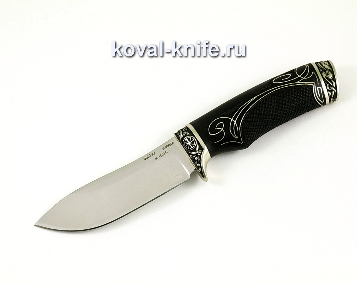 Нож Кабан из нержавеющей стали Bohler N695, (рукоять граб с инкрустацией серебром) A388