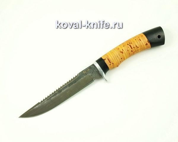 Нож Рыбак из булатной стали с рукоятью из бересты