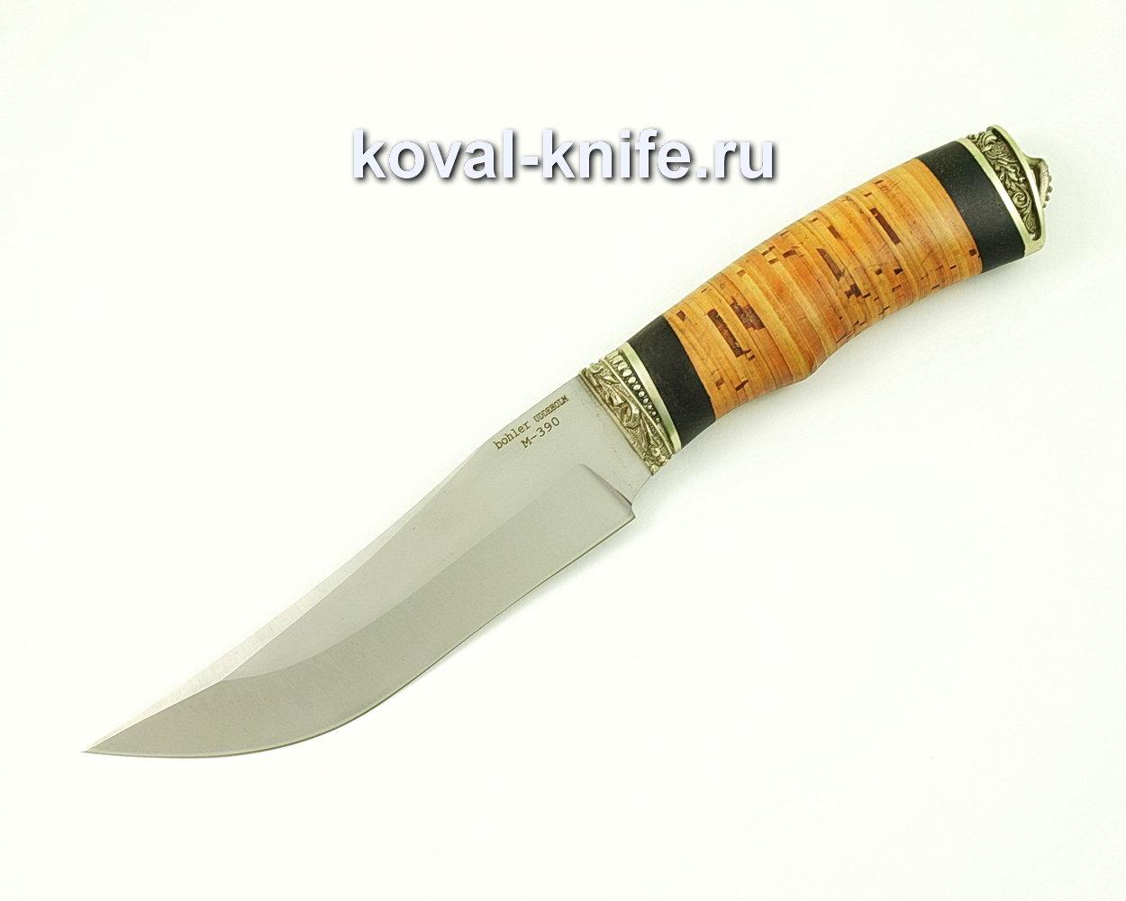 Нож Клыч из порошковой стали M390 (рукоять береста и граб, литье мельхиор) A389
