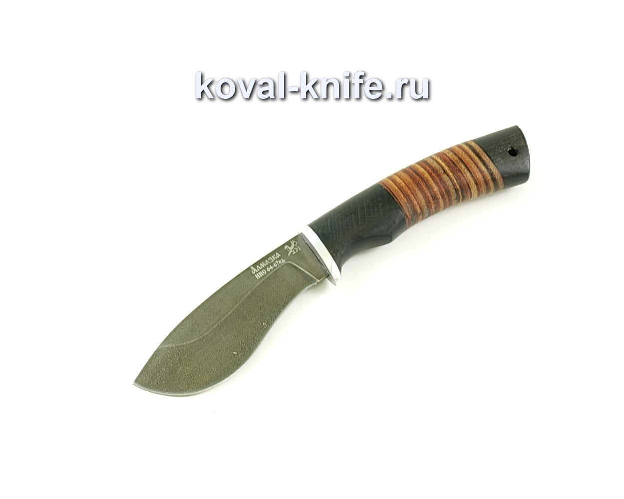 Нож Носорог (сталь ХВ5-алмазка), рукоять граб, кожа A046
