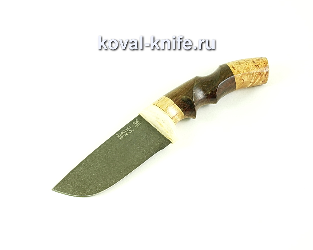 Нож Бобр (сталь ХВ5-Алмазка), рукоять рог, карелка, орех A098