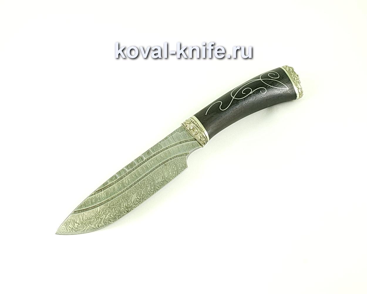 Нож Бигзод (сталь дамасская), рукоять граб, литье, инкрустация A087