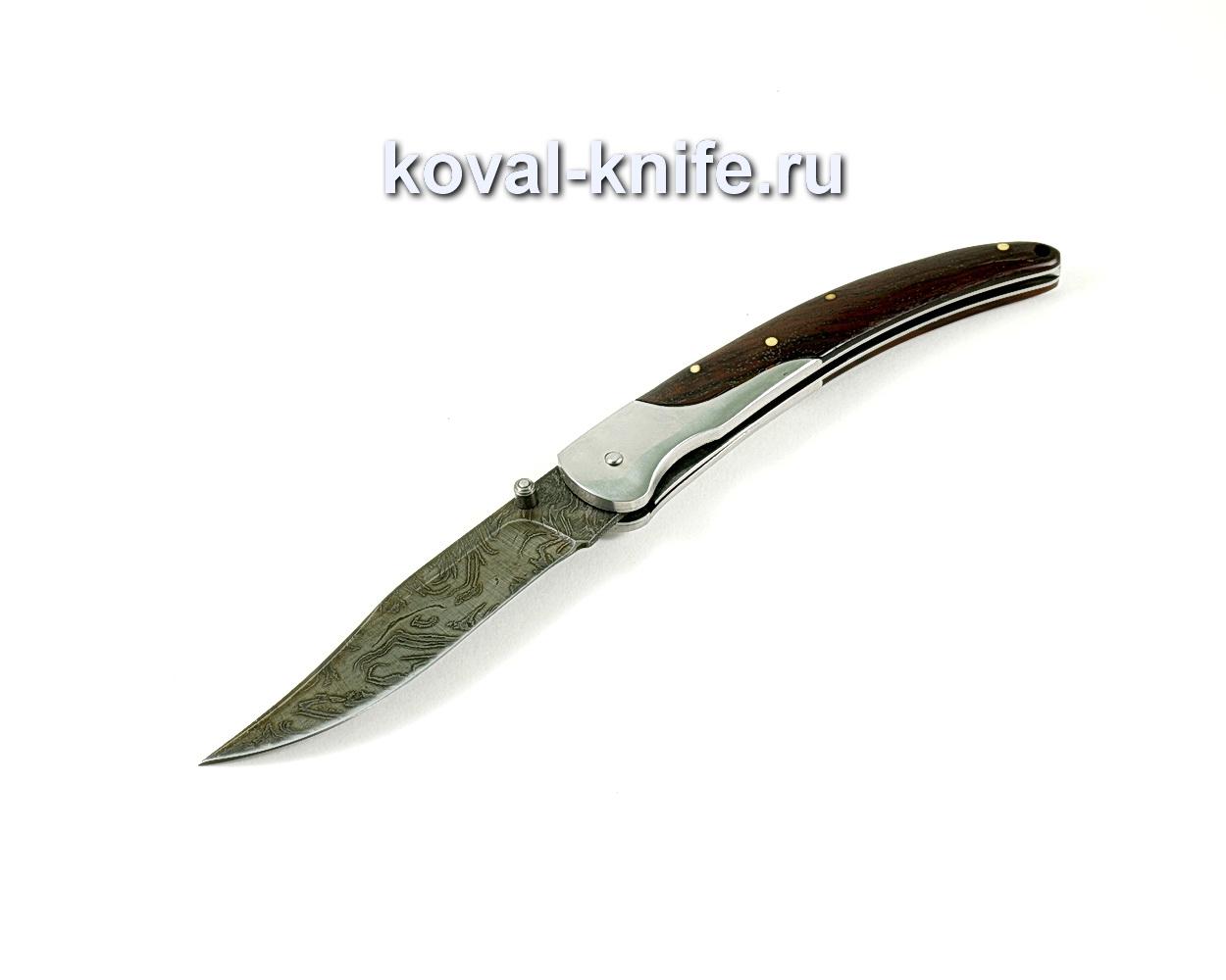 Нож Складной (сталь дамасская), рукоять орех A252