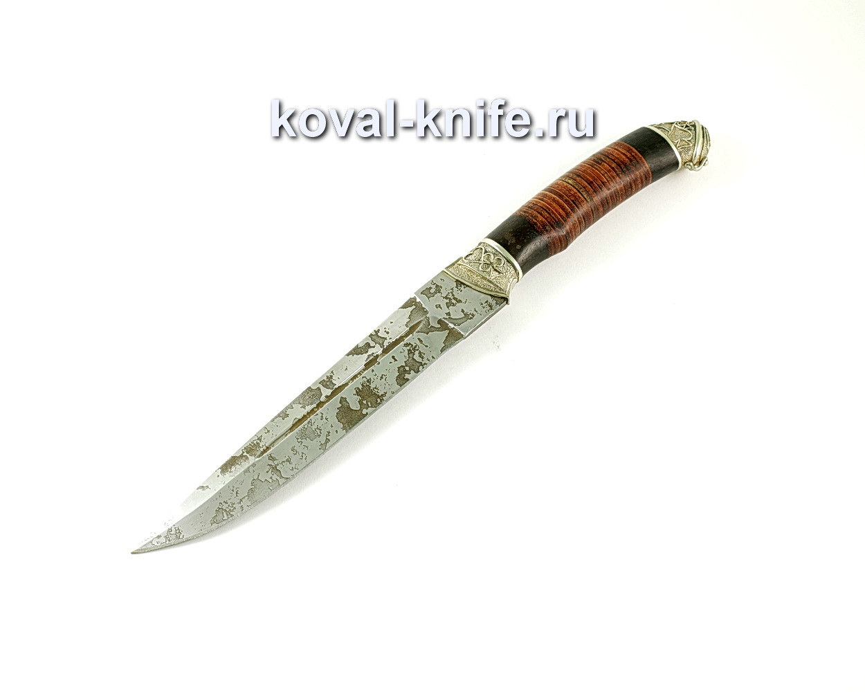 Нож Пластун (сталь 95х18), рукоять граб, кожа, литье A243