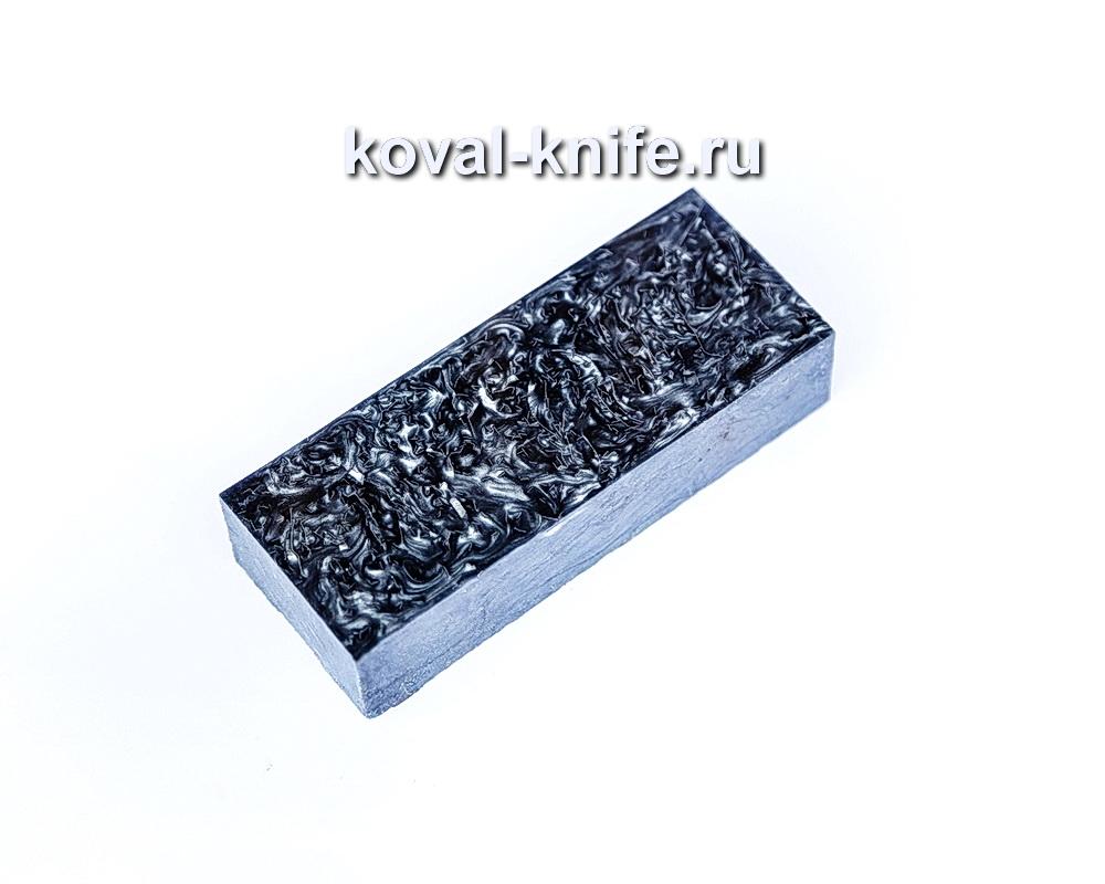 Брусок для рукояти ножа из композита (фиолетовый цвет, серебро) №15