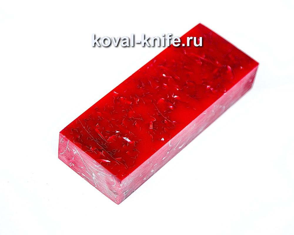 Брусок для рукояти ножа из композита (красный цвет) №4