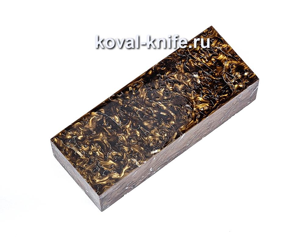 Брусок для рукояти ножа из композита (Коричневый, золото с бронзой цвет) №9
