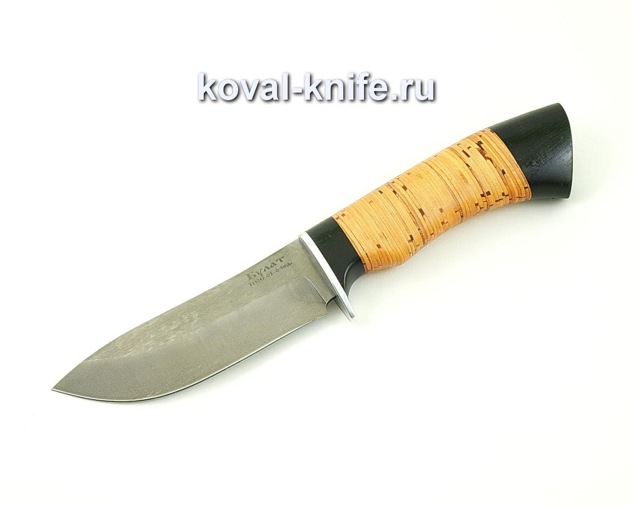Нож из булатной стали Кабан (Легированный булат, рукоять береста и граб) A478