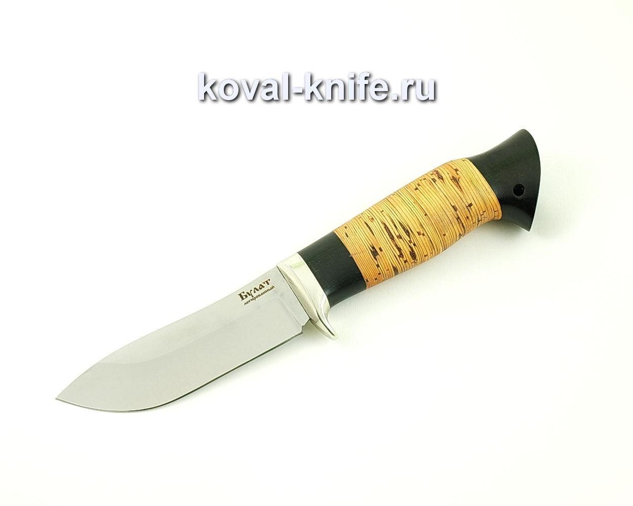 Нож из булатной стали Кабан (Легированный булат, рукоять береста и граб) A484