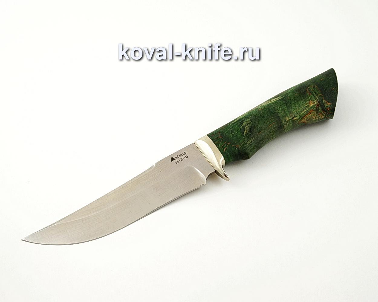 Нож Клыч из порошковой стали М390 с рукоятью из стабилизированной карельской березы, гарда мельхиор A528