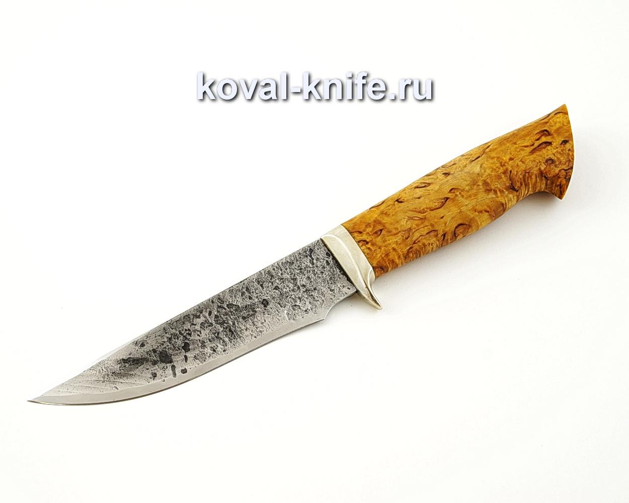 Нож Лис из кованой стали 9ХС с рукоятью из стабилизированной карельской березы, гарда мельхиор A531