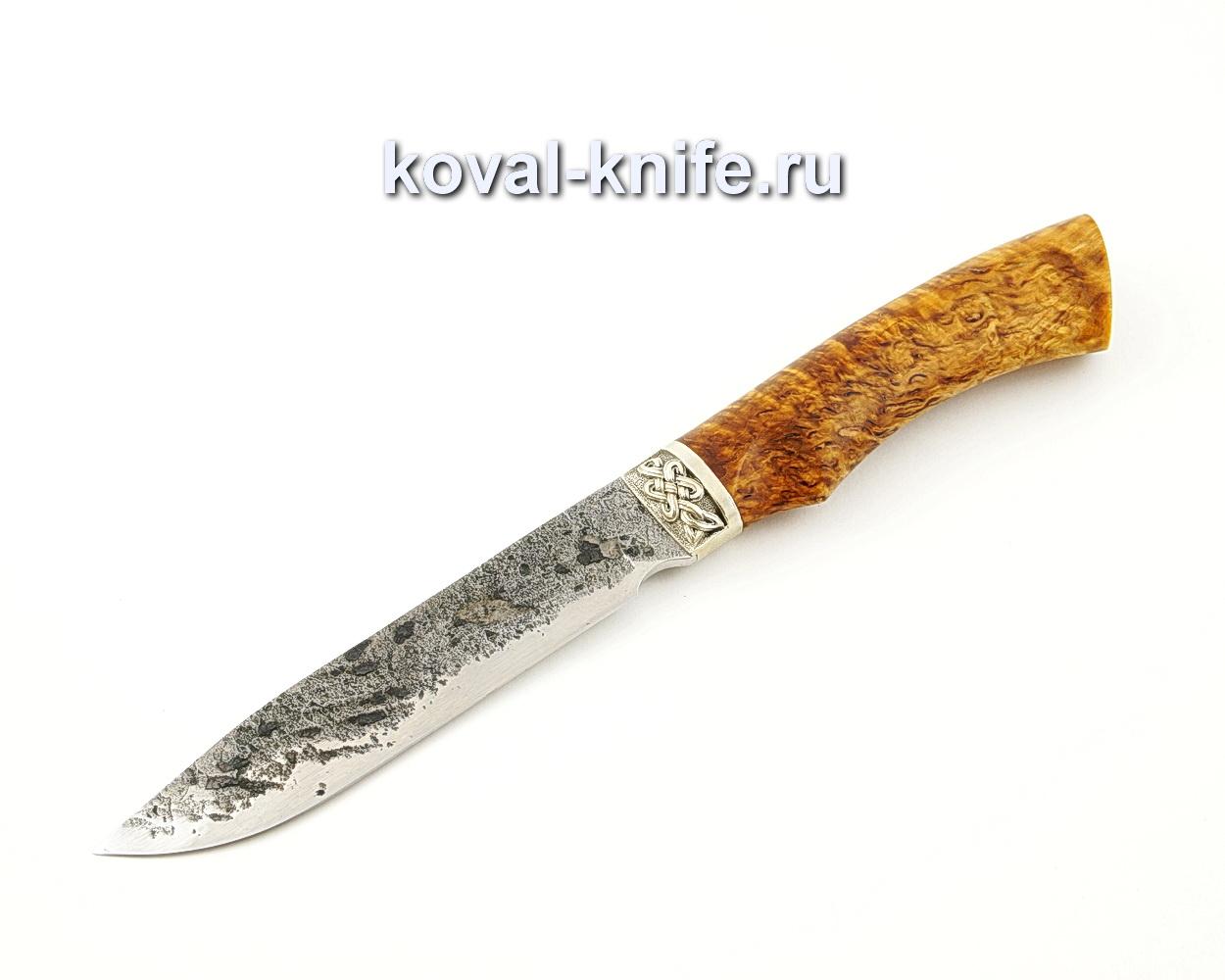Нож Турист из кованой стали 9ХС с рукоятью из стабилизированной карельской березы, притин мельхиор A534