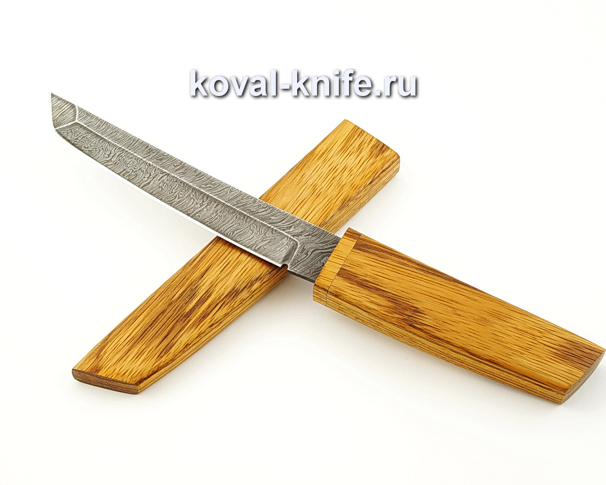 Нож Танто из дамасской стали в деревянных ножнах A541