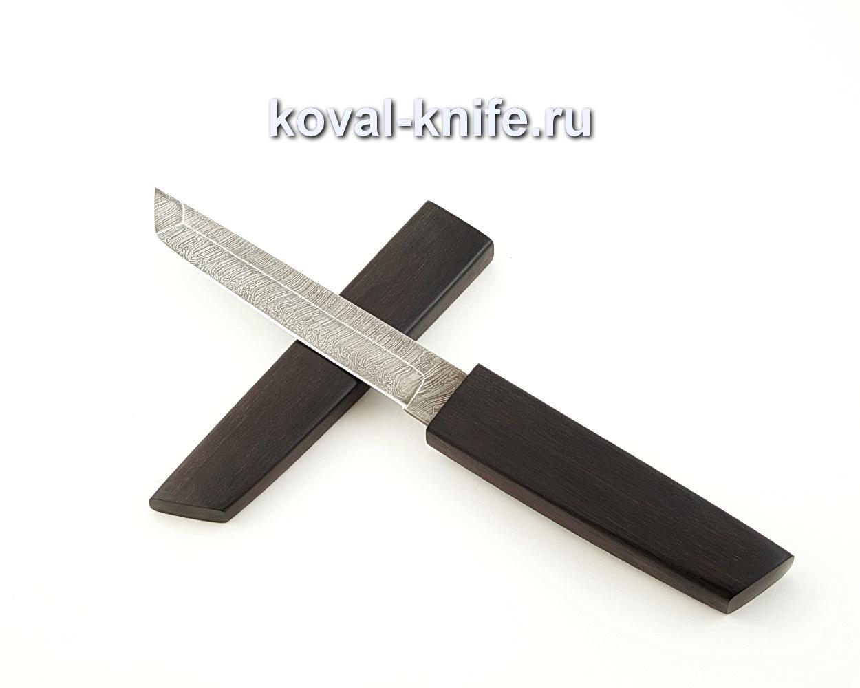 Нож Кобун из дамасской стали в деревянных ножнах из граба A542