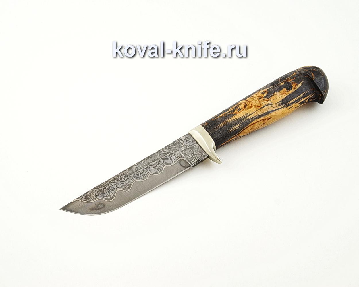 Нож Белка из ламинированной стали (стабилизированная карельская береза, гарда мельхиор) A519