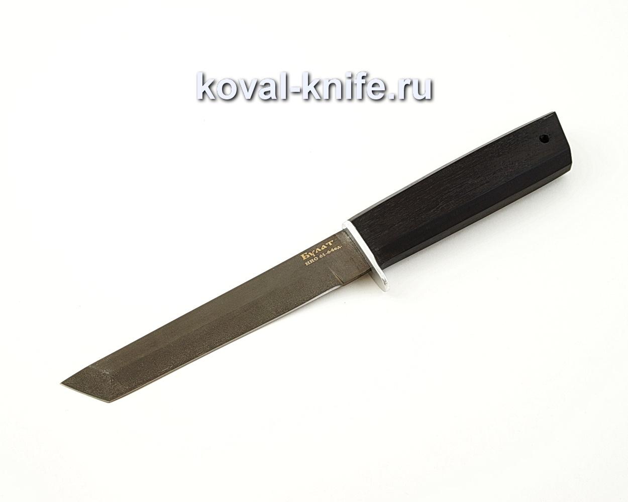 Нож Кобун из булатной стали с рукоятью из черного граба A550