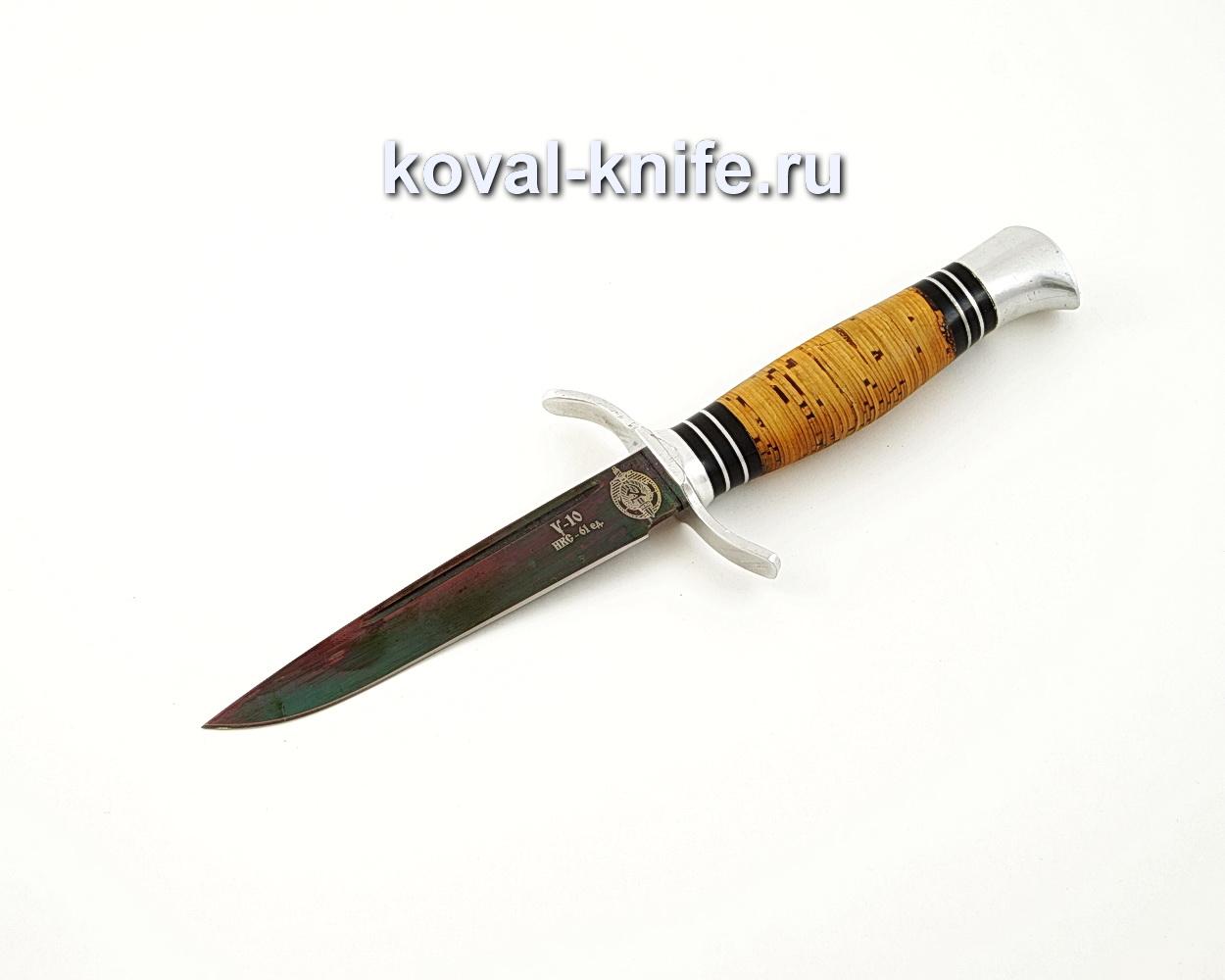 Нож Финка из углеродистой стали У10 с рукоятью из бересты A552