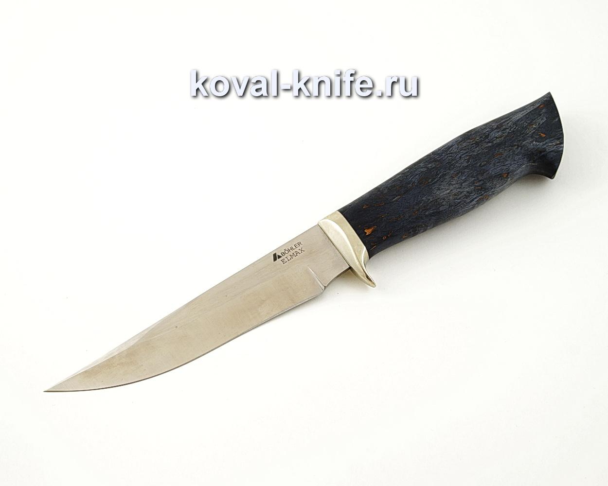 Нож Лис из порошковой стали Elmax с рукоятью из стабилизированной карельской березы, гарда мельхиор A553
