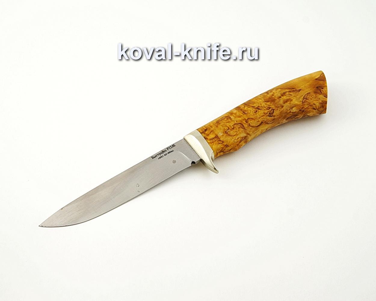 Нож Турист из быстрореза Р12М с рукоятью из стабилизированной карельской березы, гарда мельхиор A522