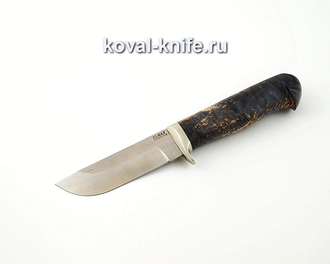 Нож Пегас из порошковой стали Elmax с рукоятью из стабилизированной карельской березы, гарда мельхиор A559