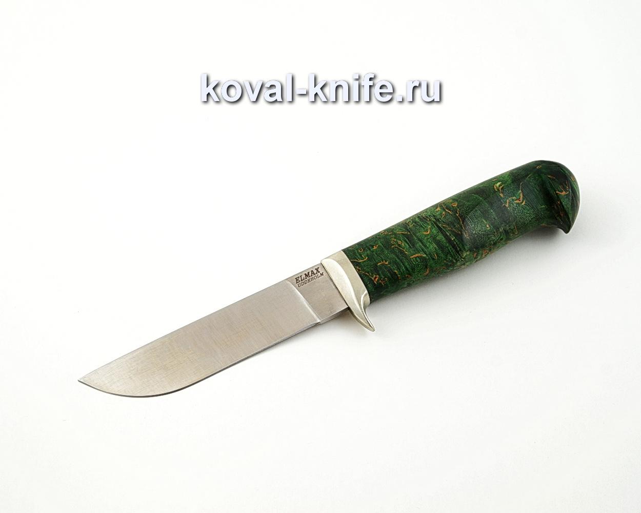 Нож Белка из порошковой стали Elmax с рукоятью из стабилизированной карельской березы, гарда мельхиор A560