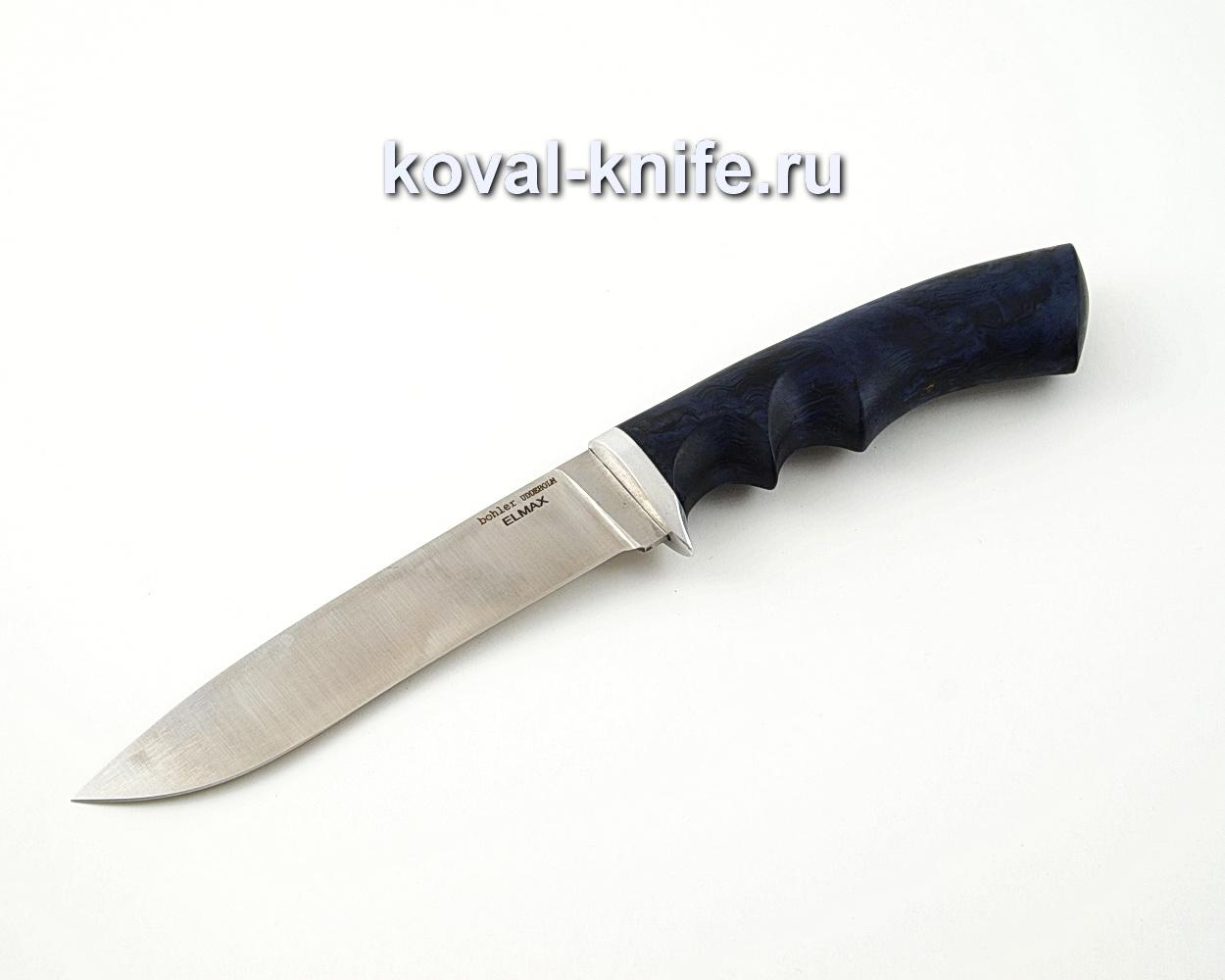 Нож Олимп из порошковой стали Elmax с рукоятью из стабилизированной карельской березы, гарда мельхиор A561