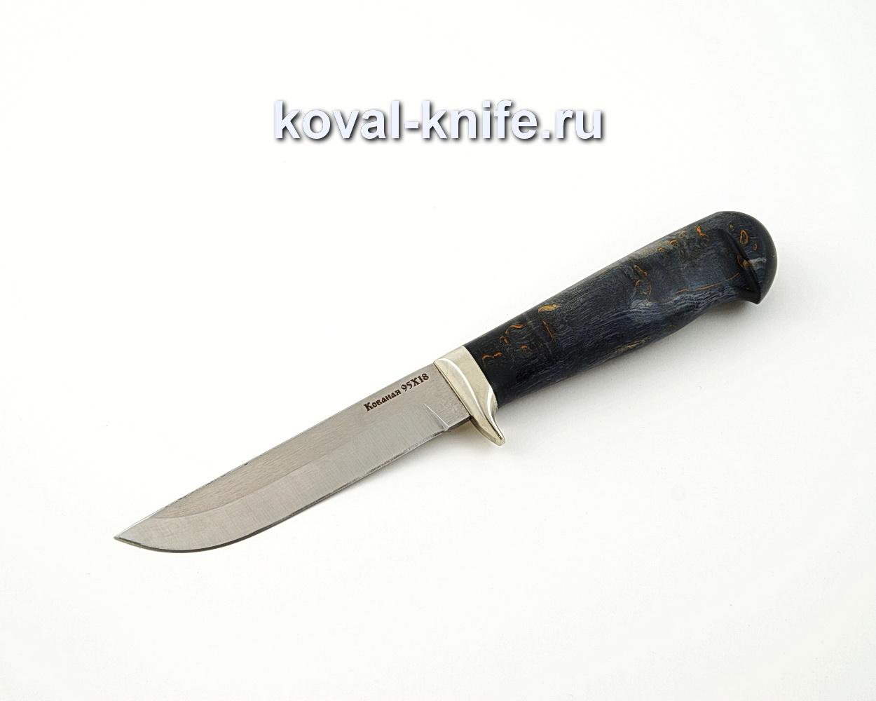 Нож Белка из кованой стали 95Х18 с рукоятью из стабилизированной карельской березы, гарда мельхиор A564