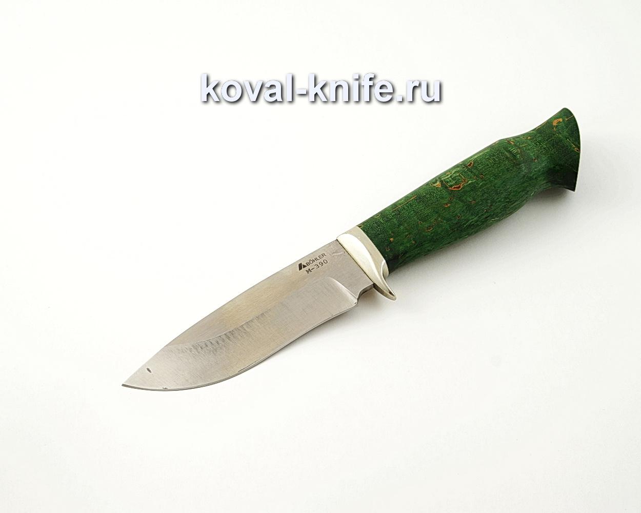 Нож Сапсан-2 из порошковой стали М390 с рукоятью из стабилизированной карельской березы, гарда мельхиор A524