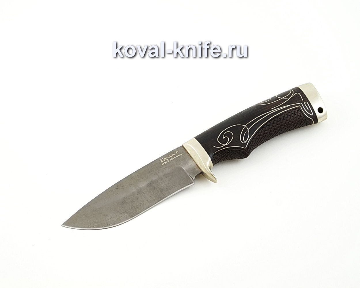 Нож Сапсан из булатной стали с инкрустированной серебром рукоятью A576