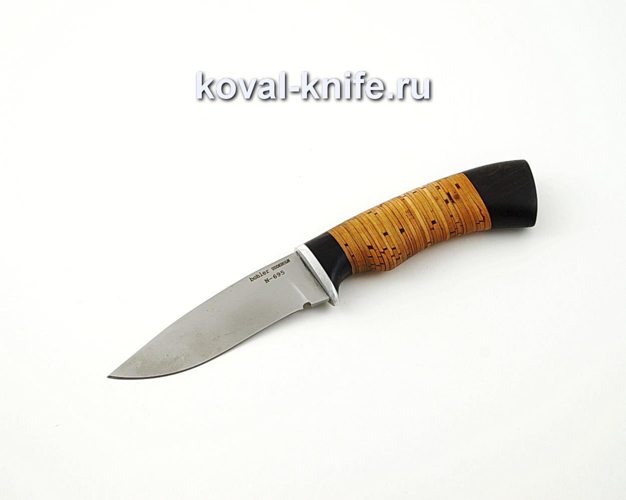Нож Сапсан из стали Bohler N695 с рукоятью из бересты и черного граба A580