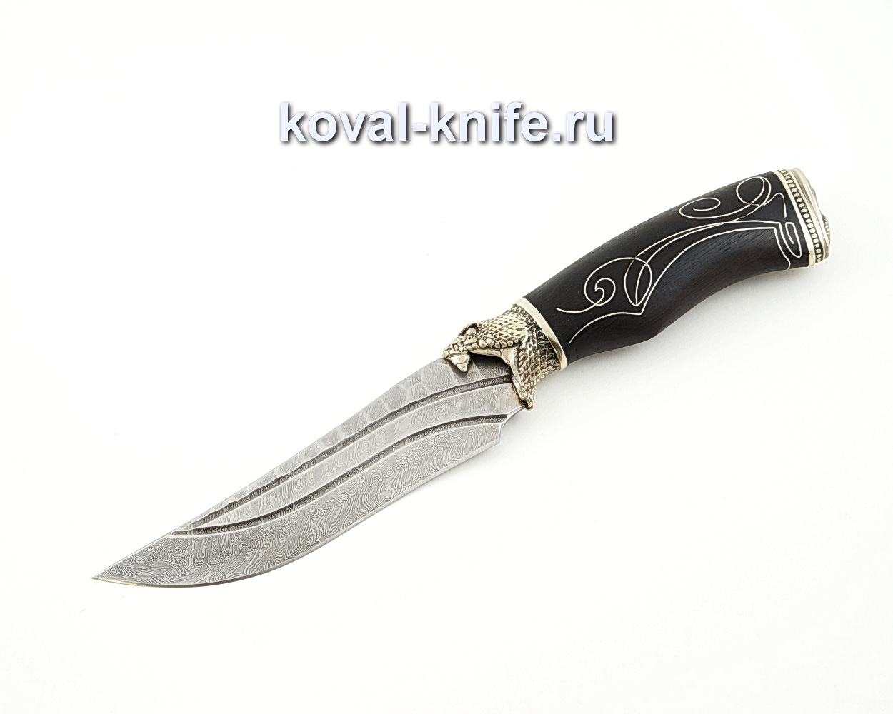 Нож Клыч из дамасской стали с инкрустированной серебром рукоятью из граба и литьем из мельхиора A582