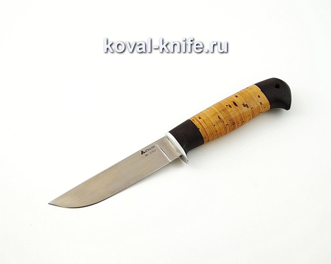 Нож Белка из порошковой стали М390 с рукоятью из бересты и граба A586