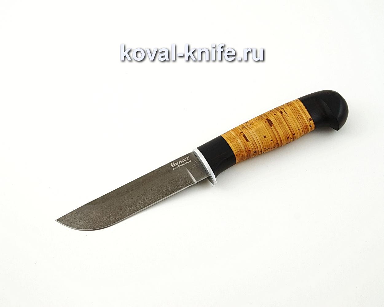 Нож Белка из легированной булатной стали с рукоятью из бересты и граба A591