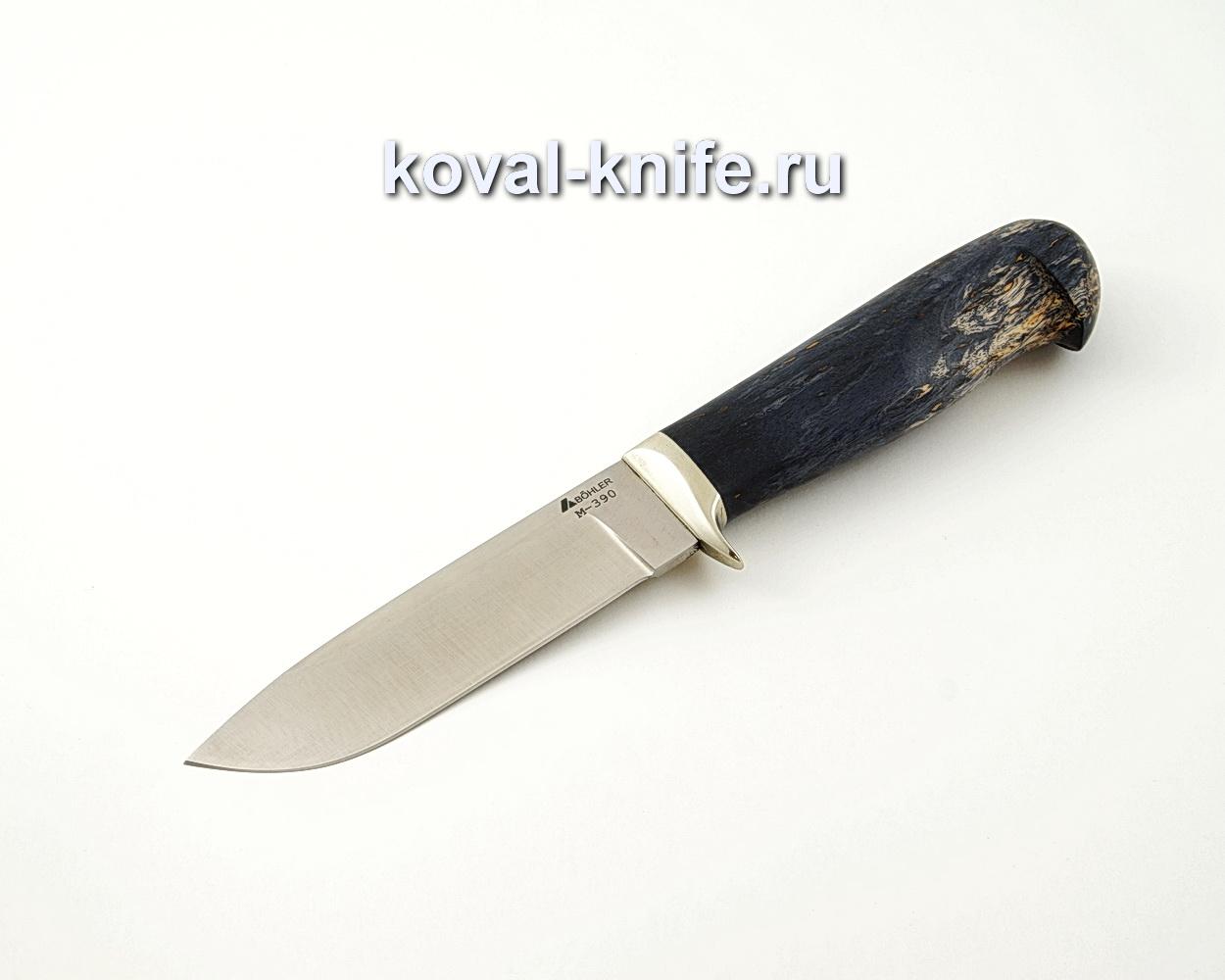 Нож Белка из порошковой стали М390 с рукоятью из стабилизированной карельской березы, гарда мельхиор A526