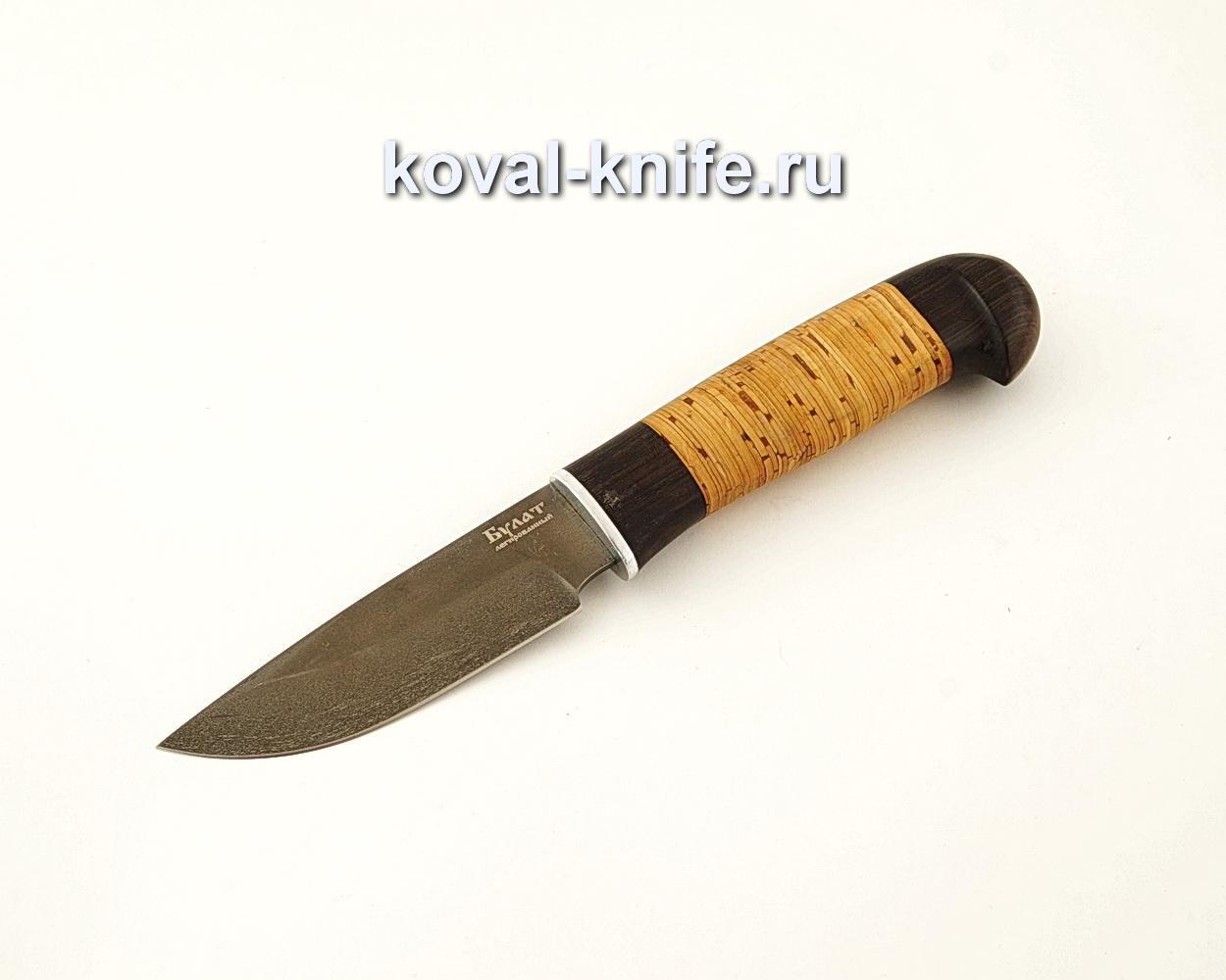 Нож Норвег из булатной стали с рукоятью из бересты и граба  A630