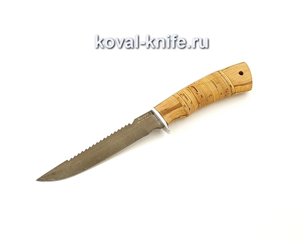 Нож Рыбак из булатной стали с рукоятью из бересты  A660