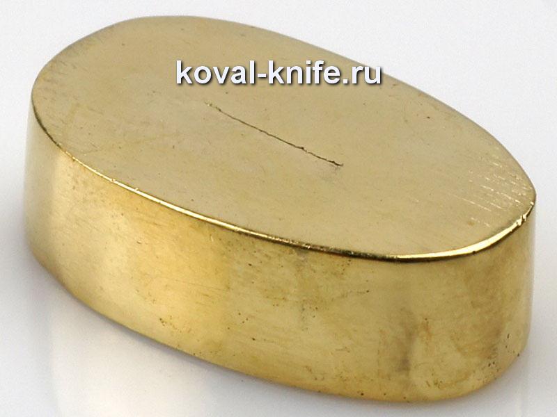 Литье для ножа 654 притин гладкий.Высота овала со стороны рукояти 28,5мм