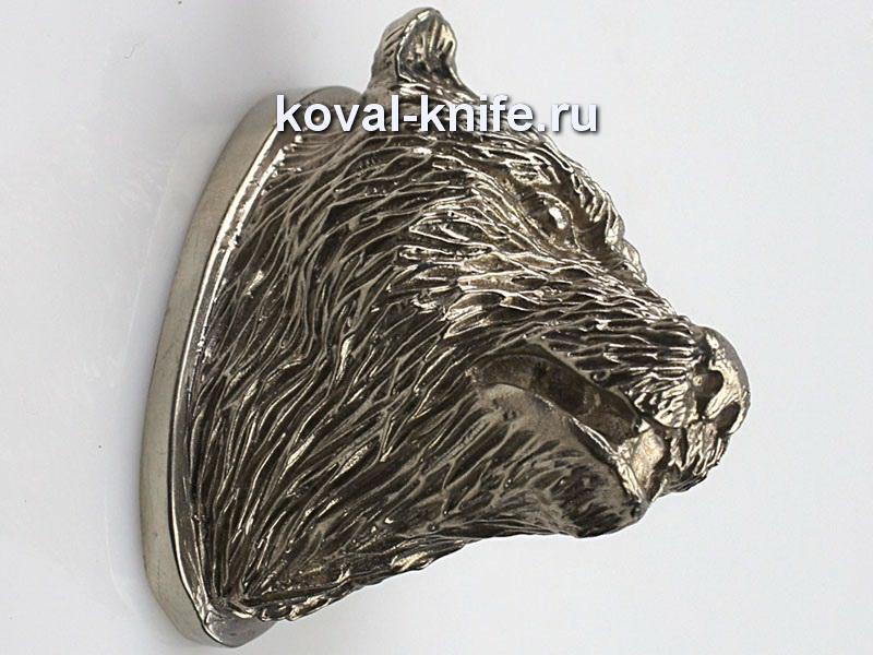 Литье для ножа 135 навершие голова Медведь. Высота примыкания со стороны рукояти 38мм