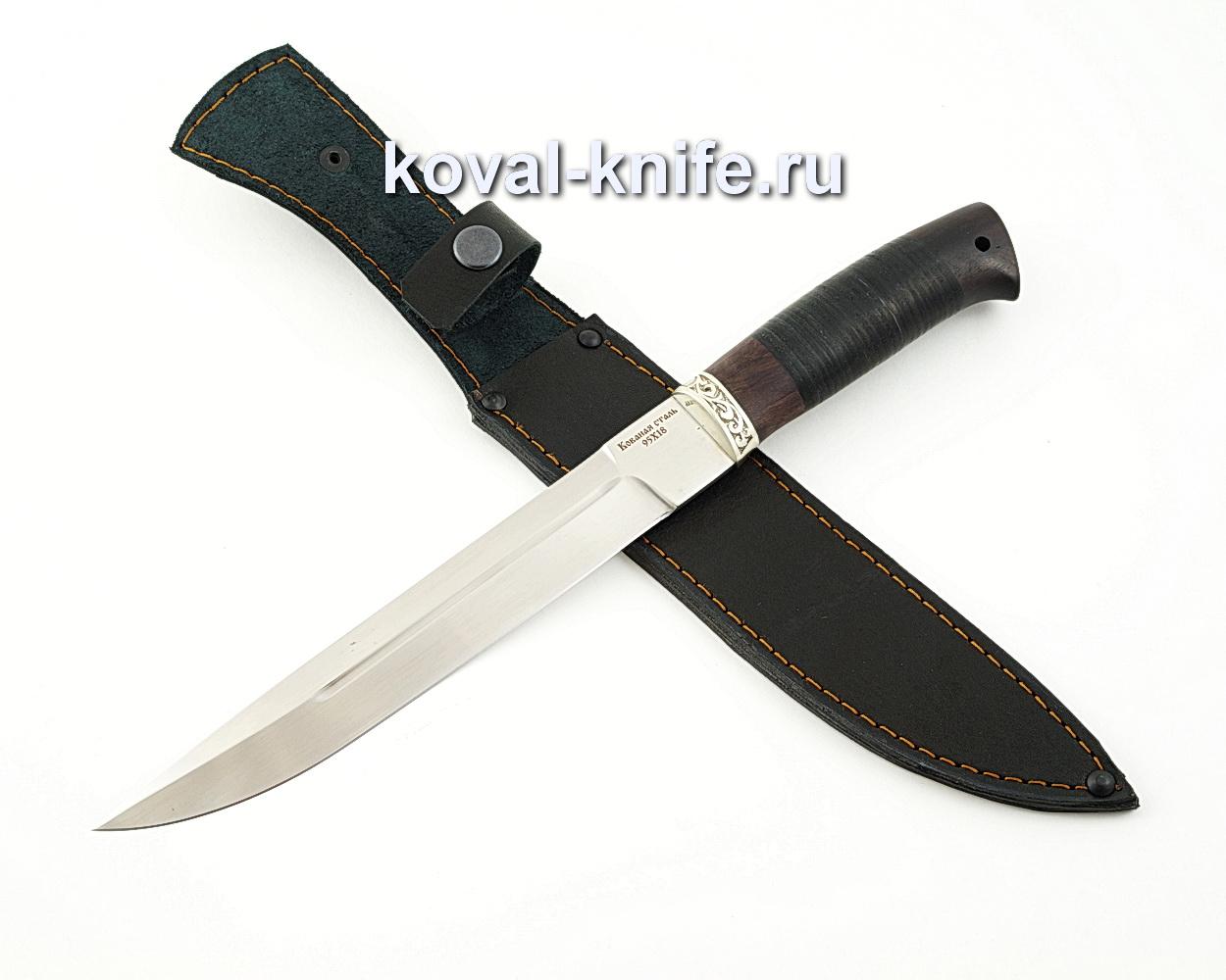 Нож Пластун из кованой стали 95х18 с рукоятью из кожи и черного граба A584