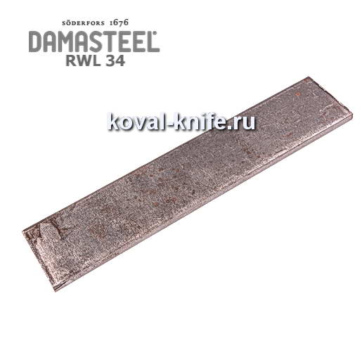 Заготовка для ножа из порошковой стали Damasteel RWL34 размеры: 250х51х3,2мм.